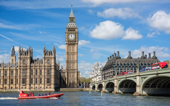 Whizz past Big Ben on a speedboat