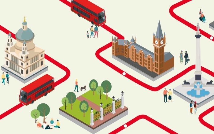 Cartoon of buses exploring London landmarks