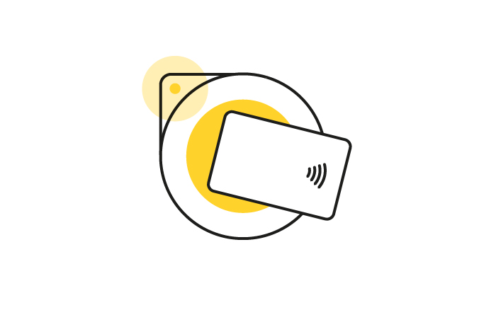 Contactless card over a yellow card reader