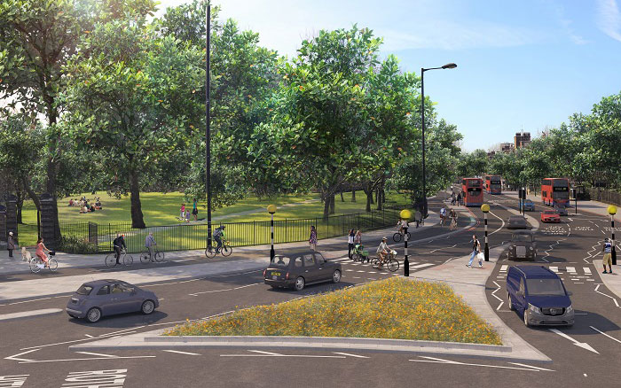 Artist's impression of CS4 at Rotherhithe roundabout/Jamaica Road