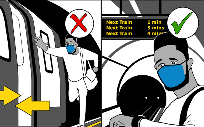 Graphic showing customer running for train doors and that this is dangerous next to image showing customer correctly waiting for the next train in 1 minute.