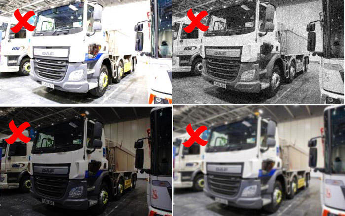Examples of bad photos for HGV Safety Permit application
