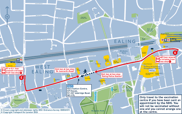 Walking map for NHS vaccination centre, CP House, Ealing
