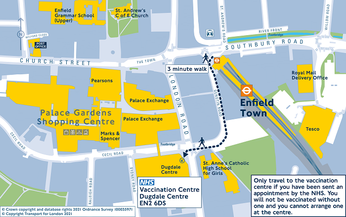 Travel map - NHS vaccination Centre Dugdale Centre Enfield