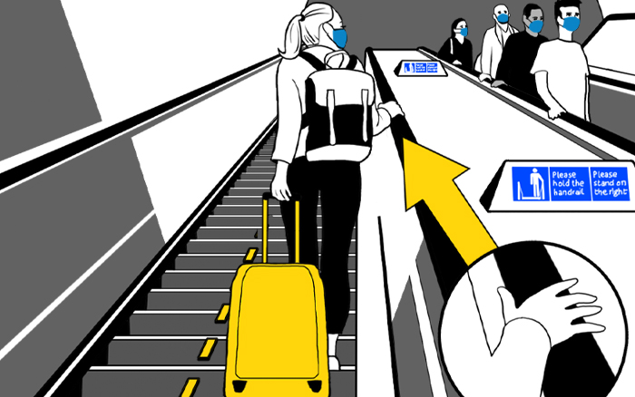 Graphic showing a customer standing on the right of an escalator, holding the handrail with their luggage behind them