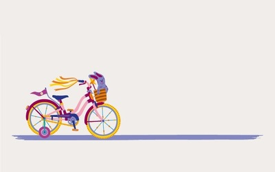 Family cycle skills cartoon bike image