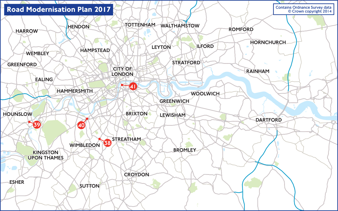 Map of 2017 road projects