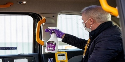 London black cab being deep cleaned