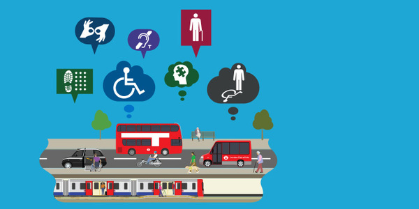 Illustration of accessible transport around London for Access All Areas exhibition