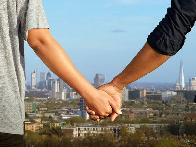 Holding hands against the backdrop of the London skyline