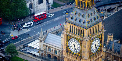 Big Ben tower from above