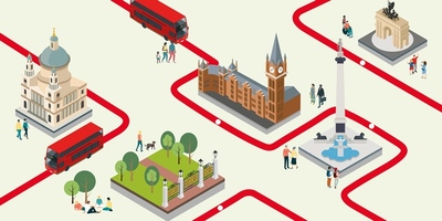 Cartoon of buses exploring London landmarks such as Big Ben and St Paul's