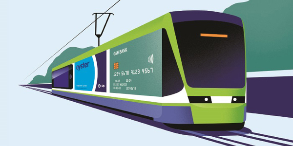 Green and blue tram graphic with bank card, Oyster and mobile phone on the side