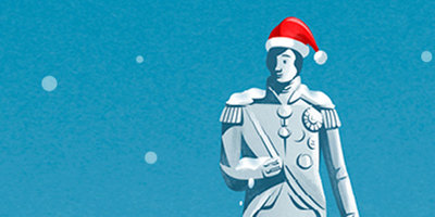 Cartoon illustration of Nelson's statue wearing a Santa hat
