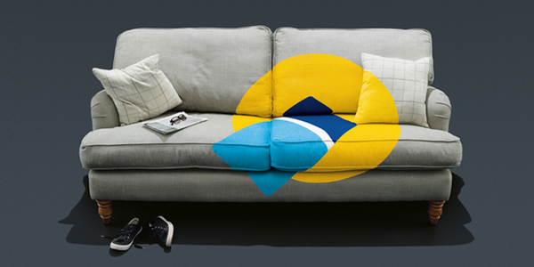 sofa with oyster and contactless icon on it