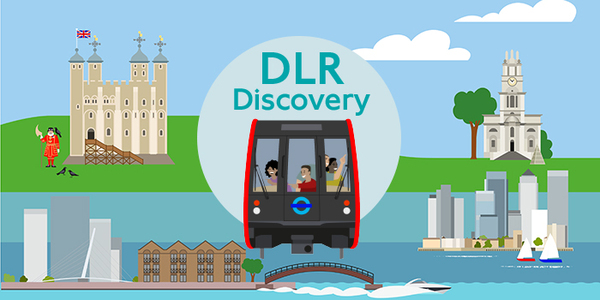 graphic of DLR train with people looking at sights of London