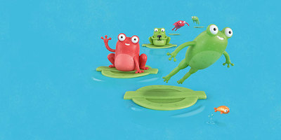 Cartoon frogs leaping on a lilypad shaped like the TfL roundel