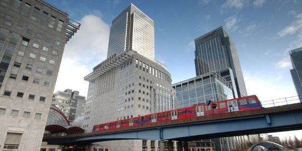DLR train in Canary Wharf