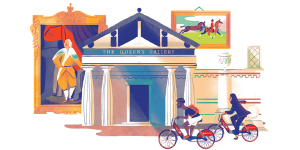 illustration of a man and woman using Santander Cycles in front of the Queens Gallery