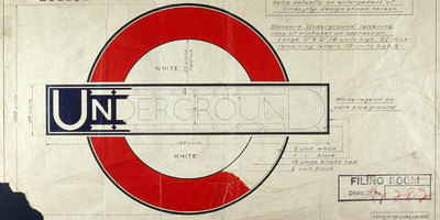 Detail from the TfL roundel design sketch