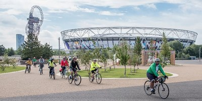 People cycling at the Olympic park in Stratford