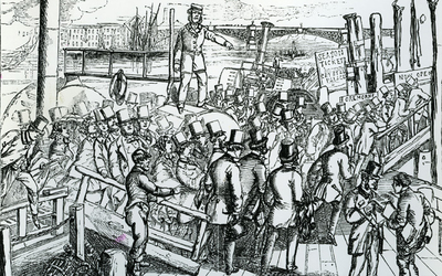 Black and white book engraving of river passengers near London Bridge