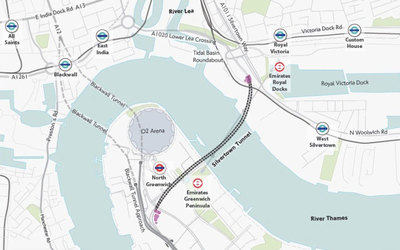 Map of proposed Silvertown Tunnel