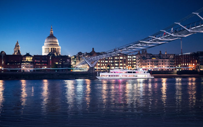 St Pauls by night, by boat