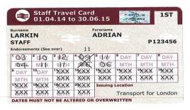 Image of a Transport for London Staff Travel Card