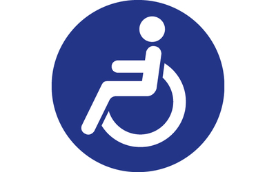 Wheelchair logo, white on blue