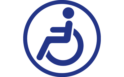 Wheelchair logo, blue on white