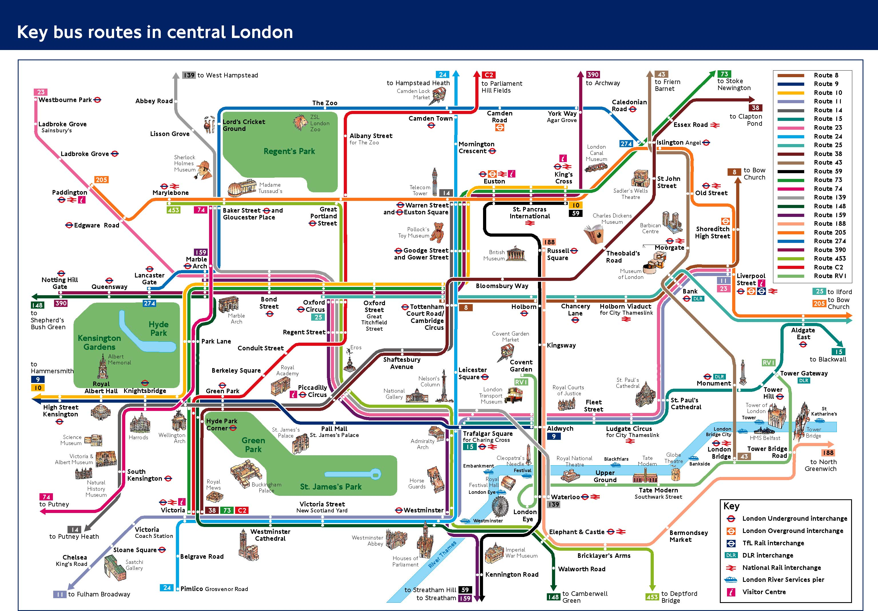 London Landmarks Map.Visitors And Tourists Transport For London