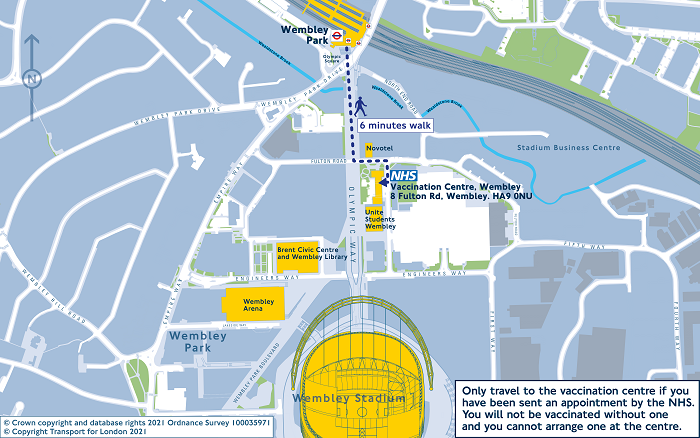 NHS vaccination centre Wembley travel map