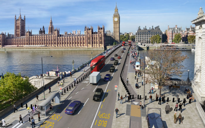 CGI of Westminster Bridge with protecting bollards