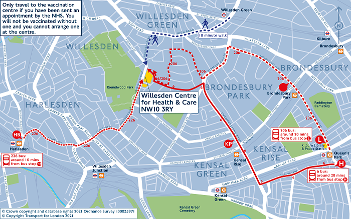Map - NHS vaccination Centre Willsden Centre for Health & Care
